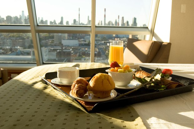 breakfast tray in a guest bedroom at the Holiday Inn Manhattan View