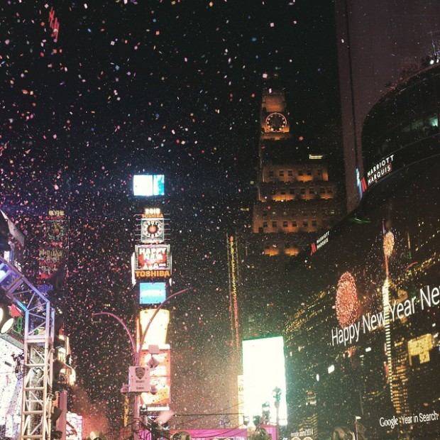 confetti flying through the air on New Years Eve 2015 at Times Square