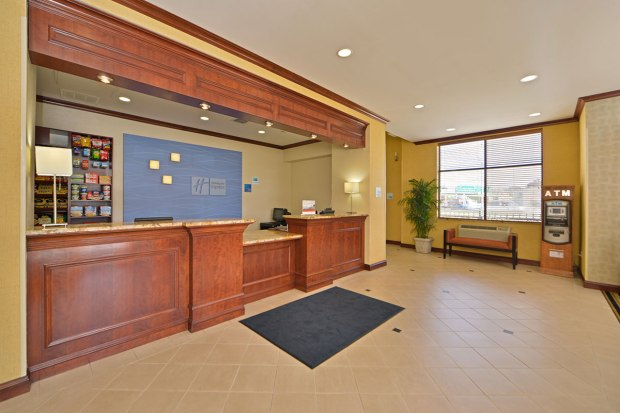 front desk of the Holiday Inn Express LaGuardia Airport