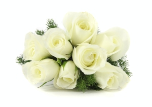 white roses with greenery