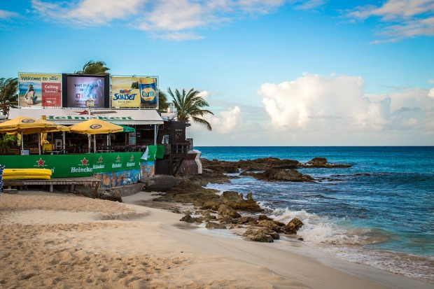 Sunset Bar & Grill on the beach at St. Maarten