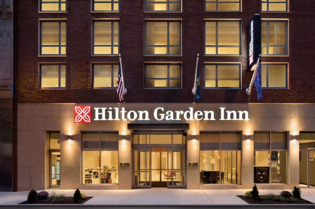 Hilton Garden Inn New York Times Square South exterior at night